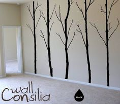 """Winter Trees Decal - Tree Wall Decal Wall Sticker - Tree Decals - Large: approx 96"""" x 125"""" ( whole composition). $79.00, via Etsy."""