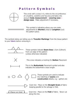 sewing pattern symbols for sewing pattern projects