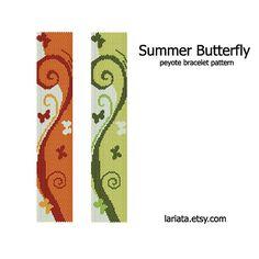 Summer Butterfly Peyote Bracelet Pattern INSTANT par lariata