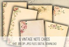 Vintage Floral Note Cards - Digital Collage Sheet Download - product images  of