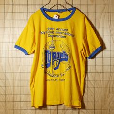 McLeans HM/CANADA製80s古着/イエロー/TORONTO87両面プリントリンガーTシャツ/メンズL