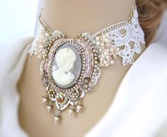 Bridal lace necklace with bead embroidery, cameo necklace, statement necklace, vintage wedding necklace, bib necklace