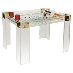 Lucite and Brass backgammon table from 1stdibs