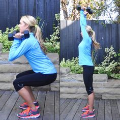Squats are excellent for slim thighs, a tight butt, and sculpted hamstrings. By adding the press, the core and shoulders are engaged the entire time.