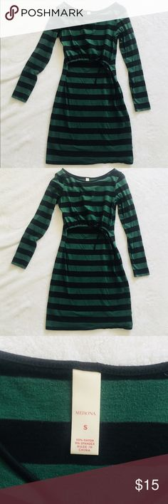 Merona Maternity and Nursing Dress Fun, black and green striped maternity and nursing dress with long sleeves. Comfortable, stretchy but not too stretchy, suitable for discreet nursing (no nursing cover needed). The stitching let go on the string that adjusts the width under bust and it has been mended (not noticeable). Supercute! Merona Dresses Long Sleeve