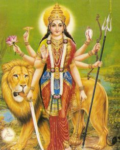 "Durga, the Goddess of victory: considered supreme among the Hindu Gods. Durga in Sanskrit means ""she who is invincible and indomitable."" Each of the Hindu gods are believed to have given some of their divine powers. Divine Mother, Mother Goddess, Mother Kali, Durga Maa, Durga Goddess, Ganesha, Durga Puja Kolkata, Maya, Durga Images"