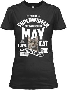 Born In May Cat Lovers T Shirt Black Women's T-Shirt Front