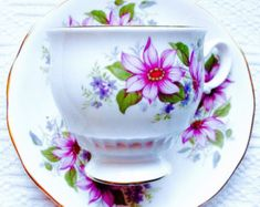 Kent China Clematis Purple Floral Tea Cup and Saucer