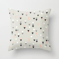 Triangle geometric decorative throw pillows pink grey black and white pillow cover home decor  housewares hipster pastel pink