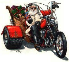 Santa Rides A Motorcycle Christmas Card Collection