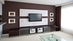 Modern TV Wall Units for Living Room Designs - Image 04 : Red White Black Marvelous TV Wall Mount
