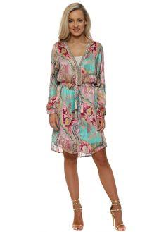 JUST M PARIS Green & Pink Paisley Print Crystal Neckline Dress