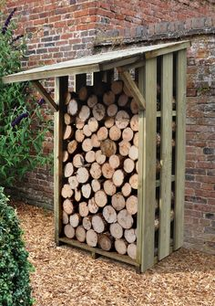 Pent Wooden Flip Roof Log Store wooden flip roof log store is great if you need a large capacity log store to store all your logs tidily in one place. Firewood Shed, Firewood Storage, Shed Storage, Storage Ideas, Garden Buildings, Garden Structures, Stacking Firewood, Outdoor Greenhouse, Log Store