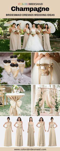 Champagne bridesmaid dresses long and short in styles, custom made, all sizes, color swatches available. Bridesmaid Dresses Long Champagne, Champagne Wedding Colors, Colored Wedding Dresses, Champagne Color, Bridesmaids, Maid Of Honour Dresses, Maid Of Honor, October Wedding, Ladies Dress Design