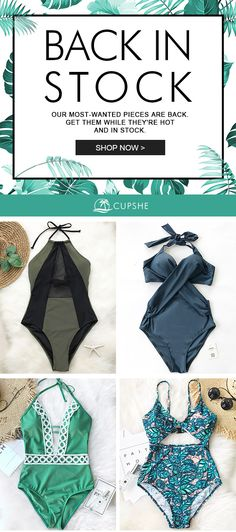 INSTOCK NOW! Our most-wanted pieces are back, Cupshe Take My Heart Mesh One-piece Swimsuit, Cupshe Shallow Waters Print One-piece Swimsuit, Cupshe Wish You Well Lace One-piece Swimsuit and more. Get them while they're hot and in stock. It's Now or Never.