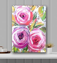 Abstract Flowers Roses canvas folk folk art edgy whimsicalmodern pink lime by Marendevineart on Etsy by anita Flower Canvas, Flower Art, Abstract Flowers, Abstract Art, Arte Floral, Painting Inspiration, Painting & Drawing, Watercolor Art, Folk Art