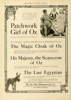 Advertisement for Oz Film Manufacturing Co.'s lineup of releases