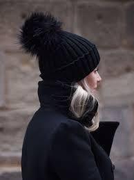 City chic Black Fur Pom Pom hat