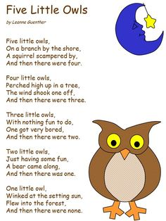 Five clipart little owl - pin to your gallery. Explore what was found for the five clipart little owl Owl Preschool, Preschool Poems, Preschool Music, Songs For Toddlers, Kids Songs, Birds Of Prey, Owl Activities, Harvest Activities, Beach Activities