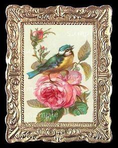 Flowers Birds  Miniature Dollhouse Picture #MiniaturesbyAmber