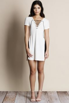 0cafc99c0b0 Clear Skies Lace Up Side Slit Tunic (white)