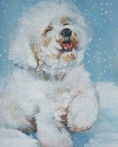 Bichon Frise art print CANVAS print by LA Shepard painting 8x10 dog art. $19.99, via Etsy.