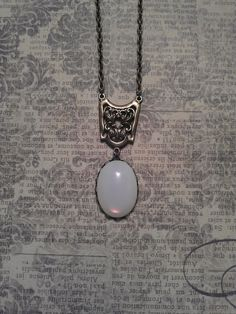 Vintage 1960's White Opal Moonstone Glass in Lace Edge Bronze Pendant with Filigree Focal Connector on Necklace