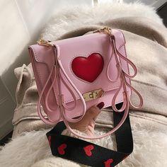 4efa7b18e1b4 Pink Heart Flap Crossbody Bags Cute Vegan Purses