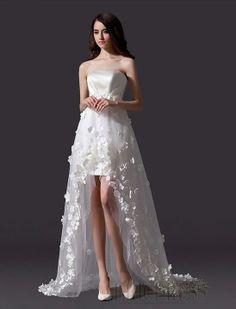 Beautiful A-Line Strapless Flowers Asymmetry Charming Wedding Dress Wedding Dresses 2014- ericdress.com 10960672