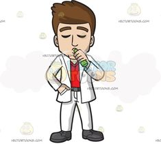 A Man Takes A Break To Vape:   A man with brown hair wearing a white suit red shirt gray belt and shoes shuts his eyes while exhaling a fluff of vapor as he holds a green vape in his right hand