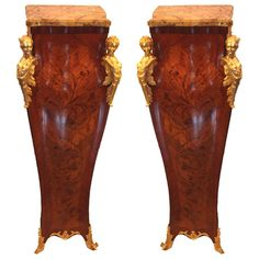 Pair of Louis XV Style Rosewood and Marquetry  Pedestals | From a unique collection of antique and modern pedestals at http://www.1stdibs.com/furniture/tables/pedestals/
