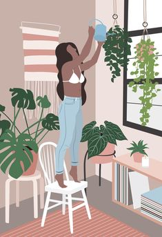 Something I find really relaxing is taking time out on Saturday mornings to go around my flat and check up on all my. Art And Illustration, Animal Illustrations, Illustrations Posters, Character Illustration, Watercolor Illustration, Arte Indie, Minimalist Art, Graphic Design Inspiration, Aesthetic Art