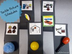 Visual picture schedule with concrete objects to give extra support. Awesome post with more pictures.