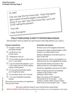 Polly Porcupine's Pretty Pepper Mini Pizzas! How many mini-pizzas can your family eat?