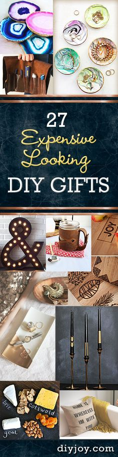 27 Expensive Looking Inexpensive DIY Gifts - Cheap DIY Christmas Gifts and Do It Yourself Ideas for Homemade Holiday Presents… Diy Gifts Cheap, Diy Gifts To Make, Crafts To Make, Fun Crafts, Decor Crafts, Crafts Cheap, Diy Gifts For Men, Easy Handmade Gifts, Diy Gifts Mom