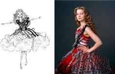 Costume Trailer : dress sketch for Alice in Wonderland. Costume Design: Coleen Atwood.