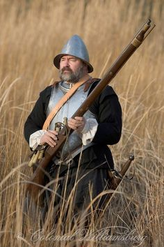 17th century soldier exploring along the James River near Jamestown, VA, photo by Colonial Willamsburg