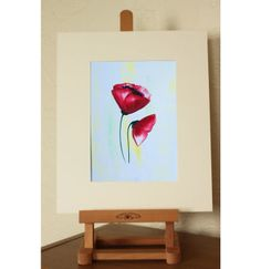 Red Poppy Painting - supplied mounted 10 x 12 £22.00