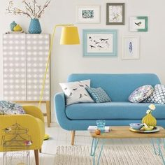 Modern white living room with colour pops | Simple designs for easy living room makeovers | Room Ideas | PHOTO GALLERY | Ideal Home | Housetohome.co.uk