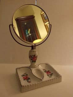 Vintage Antique China Vanity Double Dish with Attached Tilting Bathroom Mirror