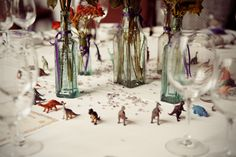 Dinosaur wedding - let's spray paint them teal! Chic Wedding, Wedding Table, Wedding Blog, Fall Wedding, Our Wedding, Wedding Reception Decorations, Wedding Themes, Wedding Colors, Wedding Flowers