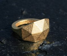 GEO RAW - Yello gold faceted modern geometric 3D printed ring. $95,00, via Etsy.