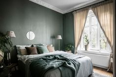 Guide To Discount Bedroom Furniture. Bedroom furnishings encompasses providing products such as chest of drawers, daybeds, fashion jewelry chests, headboards, highboys and night stands. Olive Green Bedrooms, Olive Bedroom, Green Rooms, Green Bedroom Design, Green Bedroom Walls, Bedroom Color Schemes, Bedroom Colors, Dream Bedroom, Home Decor Bedroom