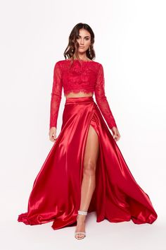 Red satin prom two piece dress. Satin Formal Dress, Red Satin Dress, Satin Gown, Satin Dresses, Ball Dresses, Evening Dresses, Silk Satin, Formal Dresses, Prom Dresses Dark Red