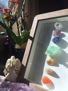 Chakra stone shadow box craft. Meditation room. Prayer room. #MassageRoom
