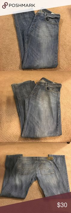 Diesel Zatiny Bootcut Stretch Jeans Light weight designer jeans in great condition. Bootcut stretch material. Perfect for summer. Fraying on bottom hem (pictured). Size 36x34. Bundle with other jeans in my closet for a deeper discount! Diesel Jeans Bootcut