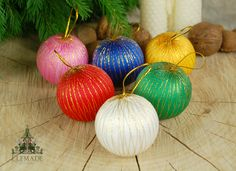 Satin & Gold Bauble Retro Christmas Tree Decorations - Set of 6 - A set of 6 very retro Christmas tree decorations made of coloured satin and gold thread.