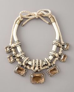 Lanvin Pave Crystal & Rope Necklace