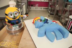 While my chocolate cake, fondant covered Minion Bob wasn't the most helpful, he did make for great company when I was making my My Little Pony cake! #Cake #Minions #RainbowDash