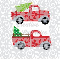 Christmas Tree Truck for use with Silhouette or other craft cutters (.svg/.dxf/.eps) - pinned by pin4etsy.com